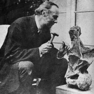Reverend Fox posing with a Eucamerotus vertebra.